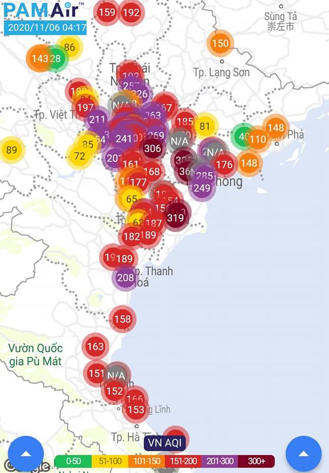 Mức độ ô nhiễm không khí ở Hà Nội sáng nay