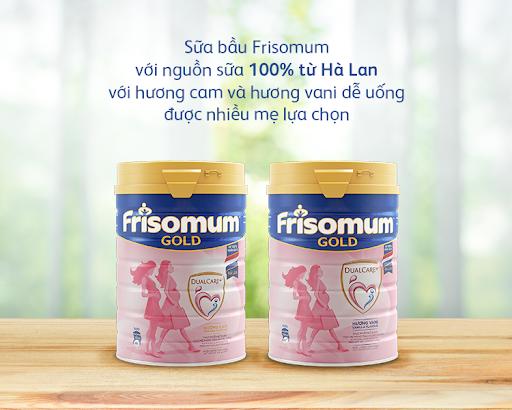 Sữa bầu Frisomum với hương cam và hương vani dễ uống, được nhiều mẹ lựa chọn.
