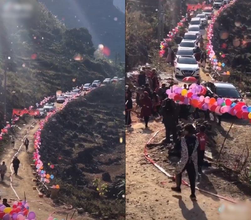 Khung cảnh này được cho là đám cưới ở vùng núi cao Trung Quốc (Ảnh cắt từ clip)