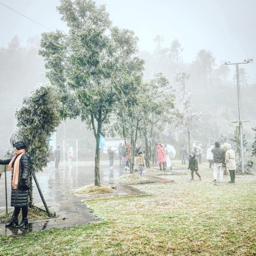 Hôm qua 10/1, người dân đổ về Thác Tình Yêu (Sa Pa) để chụp ảnh