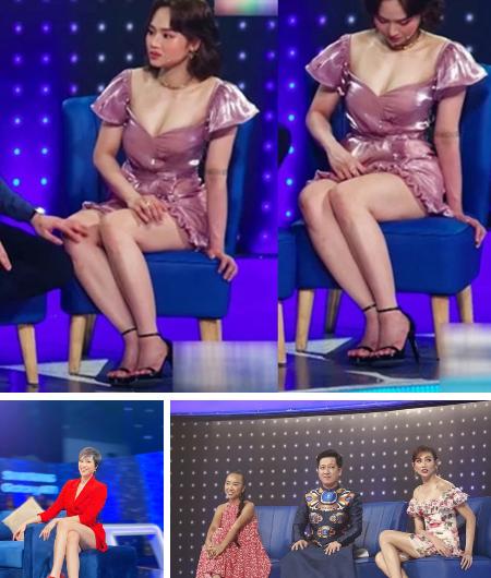 Diện váy ngắn cũn cỡn loạt sao đình đám loay hoay chỉnh sửa ngay trên sóng truyền hình