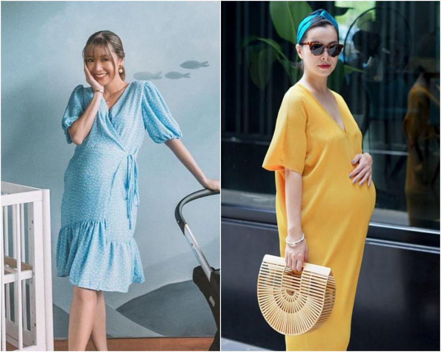 Học Phanh Lee mix đồ bầu những tháng cuối thai kỳ để che nỗi lo chân to
