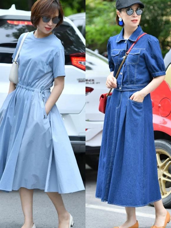 Hãy lựa chọn váy xanh lam nền nã hay váy sơ mi denim xanh dương. Chúng vô cùng thân thiện với phụ nữ 50 tuổi do cách may đơn giản và tông màu mới mẻ.