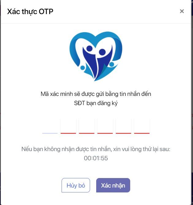 Mã OTP được gửi về số điện thoại mà bạn đã đăng ký. Nhập đủ mã OTP đã nhận và ấn xác nhận.