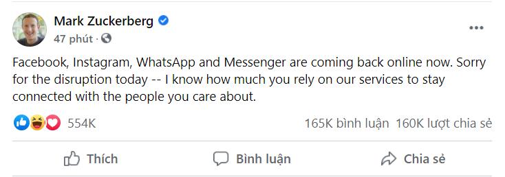 CEO Mark Zuckerberg đã lên tiếng trên Facebook cá nhân