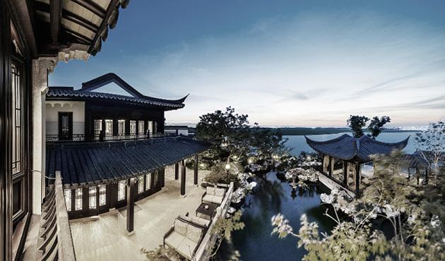 Cổng nối giữa các khu với nhau được để mở, không có cánh cửa, thiết kế cổng mô phỏng lối kiến trúc của Tô Châu xưa.