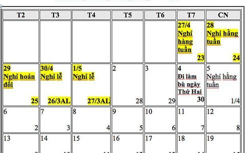 Dự kiến hoán đổi ngày nghỉ dịp 30/4 - 1/5/2019 (ảnh: VOV)