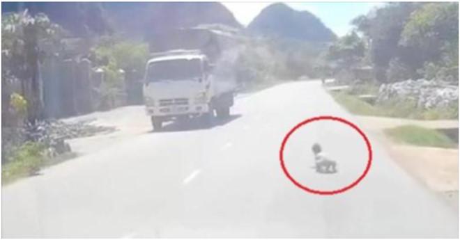 Cháu bé hồn nhiên bò ra giữa đường quốc lộ khiến cho tài xế