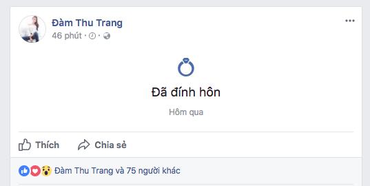 Thậm chí cả 2 còn đổi cả trạng thái hôn nhân trên FB như ngầm thừa nhận mối quan hệ