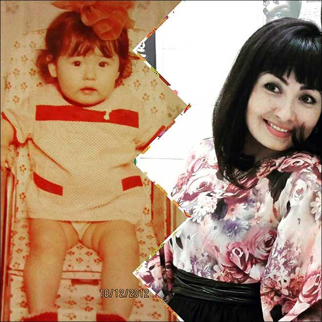 Ekaterina khi còn nhỏ và lúc trưởng thành