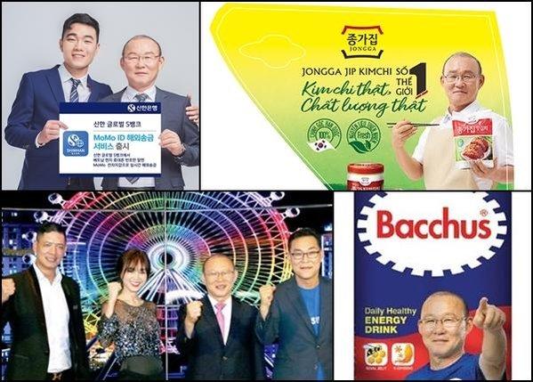 Tuy nhiên sự thành công với bóng đá Việt Nam đem lại cho thầy Park cơ hội làm gương mặt đại diện cho nhiều nhãn hàng, đem lại doanh thu khủng cho cả đơn vị kinh doanh và chính thầy Park