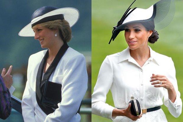 1. Trong cuộc đua ngựa nổi tiếng Royal Ascot Attire 2018, Công nương Meghan chọn bộ quần áo giống hệt mẹ chồng quá cô từng diện cũng trong sự kiện này vào năm 1985.