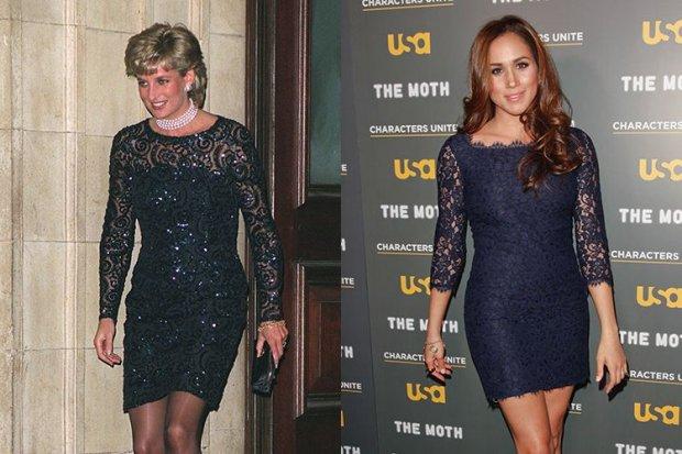 2. Meghan từng diện bộ trang phục này năm 2012 trong khi Công nương Diana diện bộ trang phục tương tự năm 1996 vào thời điểm chưa quen hoàng tử Harry.