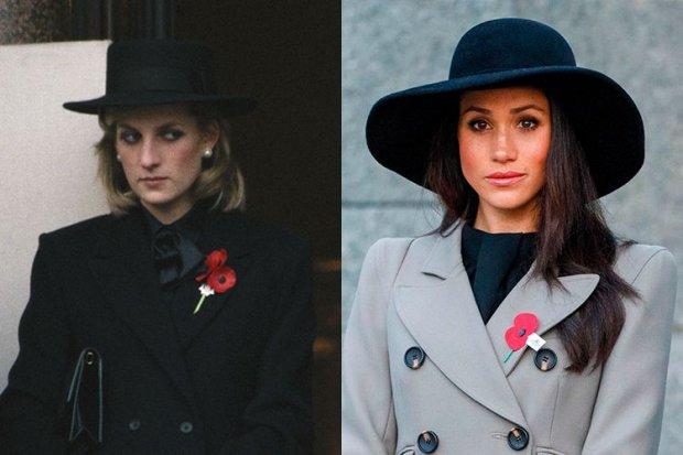 10. Bộ trang phục đen của Công nương Diana diện trong sự kiện tưởng niệm năm 1984 khs giống với bộ trang phục trong một sự kiện tương tự của Meghan.