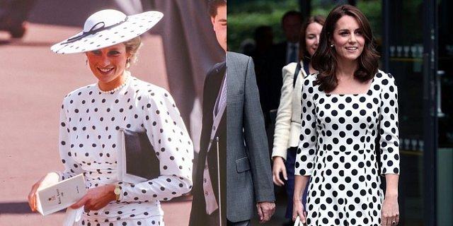 Ngày trước Công nương Diana diện đầm trắng chấm bi, kết hợp với mũ rộng vành đến tham dự cuộc đua Royal Ascot. Ngày nay Công nương Kate cũng chọn đầm tương tự đi xem giải quần vợt Wimbledon.