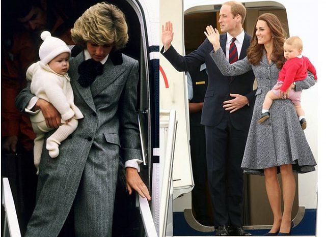 Trong khi áo khoác dáng váy của Công nương Kate Middleton đậm chất nữ tính thì bộ đồ của mẹ chồng cô lại chịu ảnh hưởng rõ nét từ trang phục nam (menswear).