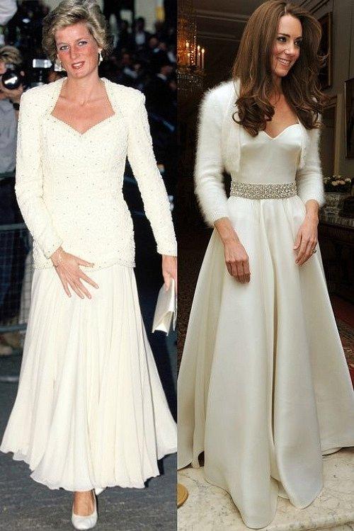 Chỉ cần thêm áo khoác ngắn bên ngoài, Kate Middleton đã tái hiện thành công hình ảnh sang trọng của công nương Diana năm 1988.