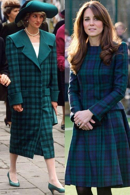 Công nương Diana tôn vinh phong cách menswear với kiểu áo khoác vai ngang dáng suông, còn con dâu của bà trung thành với đầm caro tartan nữ tính.