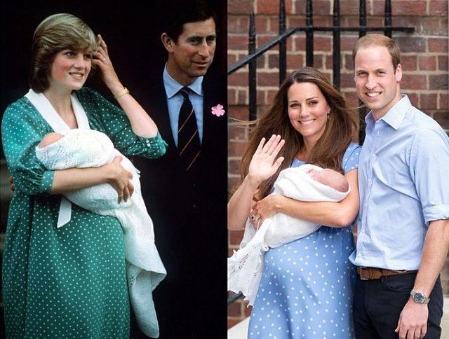 Công nương Kate cũng mặc đầm chấm bi giống công nương Diana khi bước ra chào dân chúng sau khi sinh con.
