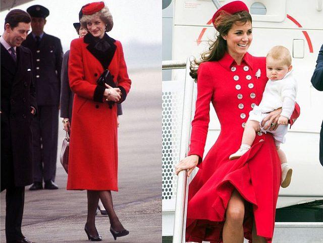 Gu thời trang sân bay đồng điệu của mẹ chồng – con dâu hoàng gia Anh với kiểu áo khoác dáng dài màu đỏ tươi, cài nút hai hàng kiểu quân đội.