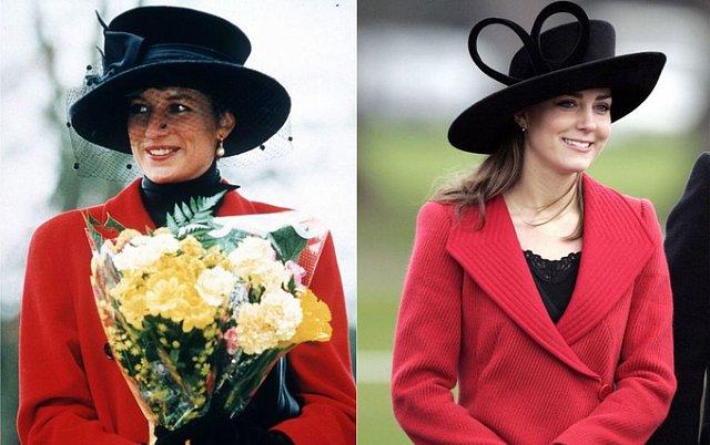 Sự kết hợp áo đỏ mũ đen thời thượng được Kate học hỏi từ mẹ chồng.