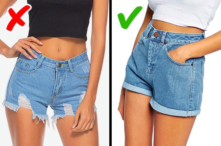 Hãy bỏ những chiếc quần short bò rách đi và chọn cho mình chiếc quần cạp cao để hợp thời trang hơn.