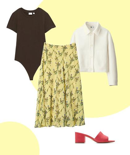 Để thay thế cho chiếc áo phông màu trắng quá cơ bản khi phối cùng váy midi hoa, bạn hãy tìm một chiếc áo bodysuit cổ tròn, ngắn tay màu để có màu sắc đa dạng hơn cho bộ trang phục. Ngoài ra, để không bị đơn điệu, người mặc có thể phối thêm áo khoác màu sắc trung tính như xám, trắng và sử dụng dép cao gót đơn giản.