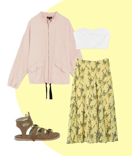 Với những cô nàng hướng theo phong cách bohemian thì giày sandal buộc dây đi cùng váy hoa là sự kết hợp không thể hoàn hảo hơn. Nếu bạn yêu thích phong cách phóng khoáng, quyến rũ thì có thể sử dụng thêm áo khoác bên ngoài chiếc áo ống gợi cảm.