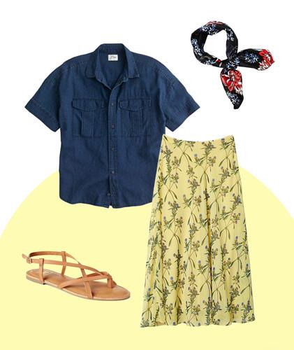 Đây là set đồ đậm chất mùa hè với áo sơ mi tay ngắn, giày sandal bệt và khăn turban trẻ trung. Màu áo denim sẽ giúp người mặc trở nên cá tính và mạnh mẽ hơn, cân bằng với vẻ dịu dàng của chiếc váy hoa.