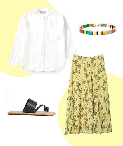 Màu trắng luôn thích hợp với mọi màu sắc khác đi kèm. Chính vì vậy, một chiếc áo sơ mi trắng đơn giản sẽ là lựa chọn an toàn cho bất kỳ cô gái nào. Tùy phong cách mỗi người có thể phối áo vào bên trong hay bên ngoài váy. Lưu ý để tránh set đồ trở nhạt nhòa thì người mặc nên tạo thêm điểm nhấn bằng những phụ kiện nổi bật khác như vòng tay, hoa tai nhiều màu sắc.