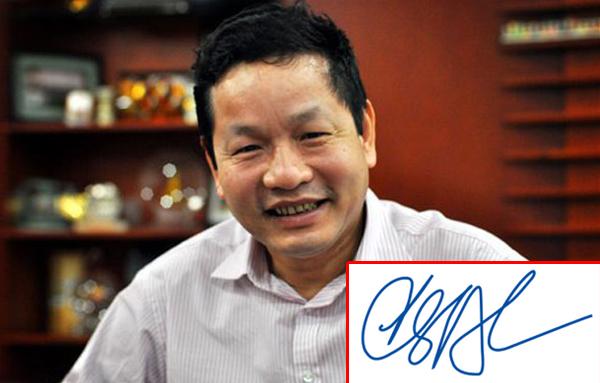 Chủ tịch Tập đoàn FPT – ông Trương Gia Bình sinh năm 1956, thuộc mệnh Hỏa. Chữ ký của vị Chủ tịch FPT được đánh giá là hợp phong thủy khi cũng có nhiều nét nhọn và không theo quy tắc.