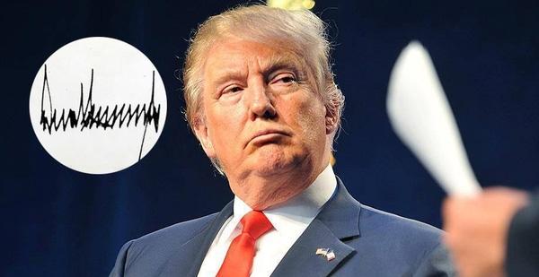 Tổng thống Mỹ thứ 45 ông Donald Trump là hình mẫu điển hình cho chữ kí phong thủy của người mệnh Thủy.