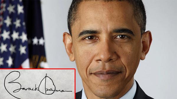 Chữ ký cầu kỳ, đẹp mắt của Tổng thống Mỹ Barack Obama – tổng thống thứ 44 của quốc gia này. Ông sinh năm 1961, là người mệnh Thổ. Chữ ký của ông tương đối hợp với nguyên tắc khi các chữ cái đều rất chắc chắn, rõ ràng.