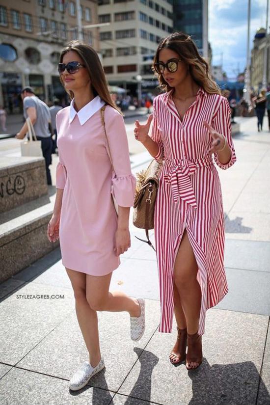 Những mẫu váy thùng thình được bố trí đai lưng vải, hàng cúc gài để giúp bạn gái dễ dàng sử dụng trang phục với nhiều cách khác nhau. Trong nháy mắt váy suông có thể biến thành đầm thắt eo duyên dáng, váy xẻ tà sexy.