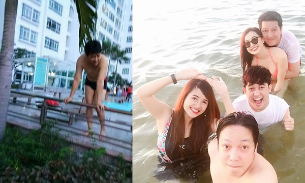 Rủ Nhã Phương đi bơi ở nhà, Trường Giang lộ bụng ngấn mỡ