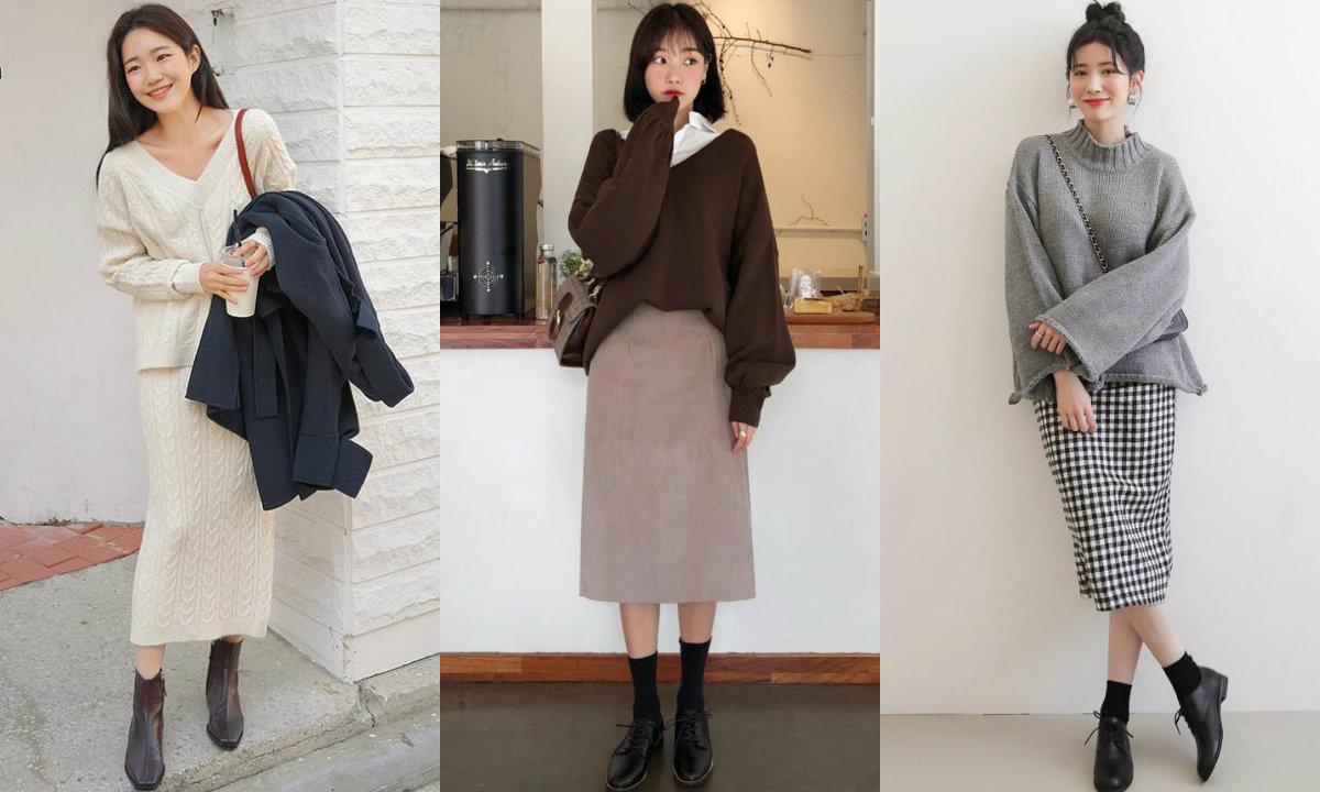 Áo len và chân váy suông kết hợp hoàn hảo