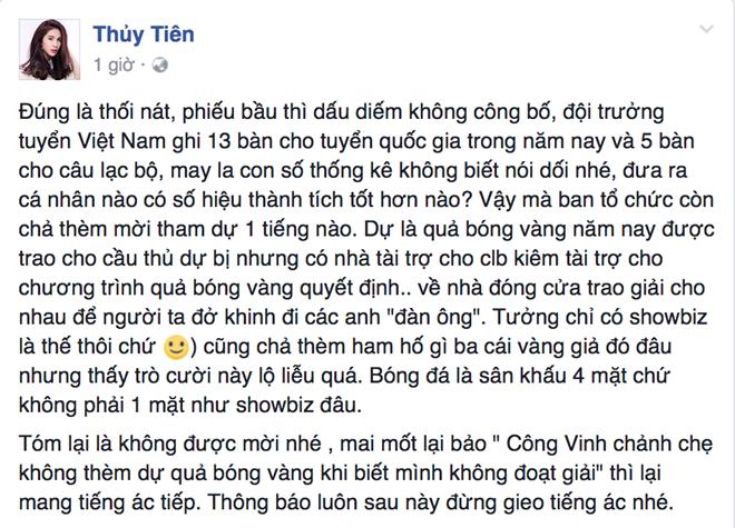 Thuy Tien buc xuc khi Cong Vinh khong duoc Qua bong vang Viet Nam phunutoday.vn 1