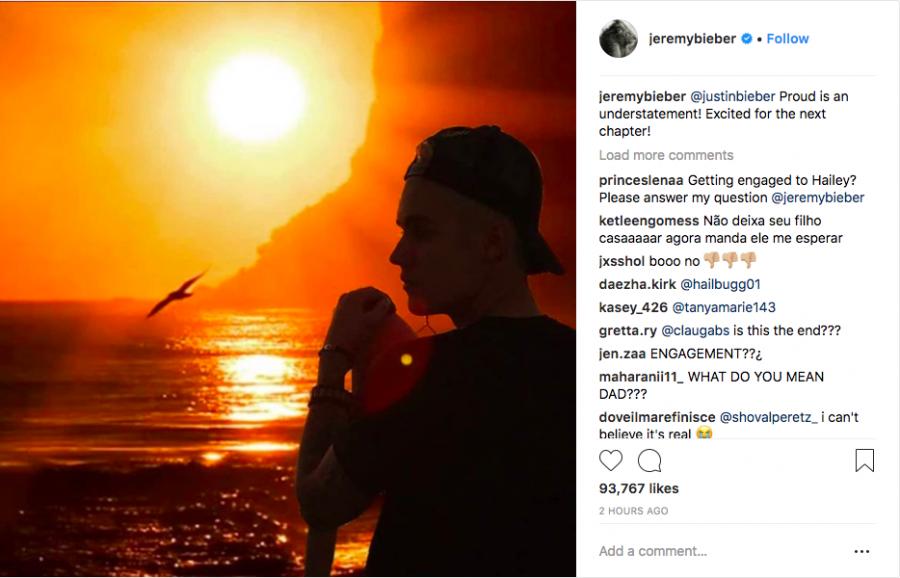 Bố Justin Bieber chúc phúc cho con trai trên Instagram.