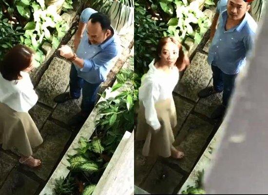 Hình ảnh được cắt ra từ clip quay lén vợ chồng Thu Trang, Tiến Luật, thực ra họ đang quay quảng cáo.