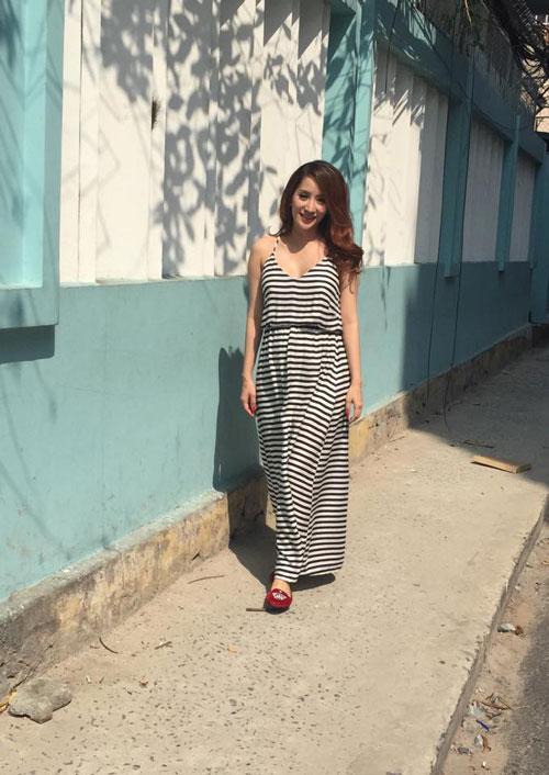 Học Khánh Thi diện thời trang bà bầu cực chất trong ngày hè 6
