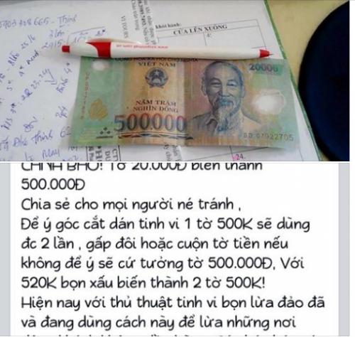 Cảnh báo: Thủ đoạn tinh vi biến tờ 20.000 thành 500.000 đồng